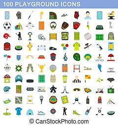 honderd, stijl, plat, set, iconen, speelplaats