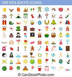 honderd, stijl, set, iconen, plat, feestdagen