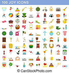 honderd, stijl, set, vreugde, iconen, plat
