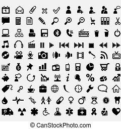 honderd, vector, iconen