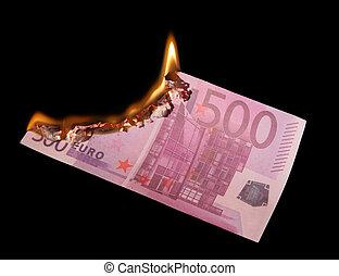 honderd, vijf, burning, eurobiljetten
