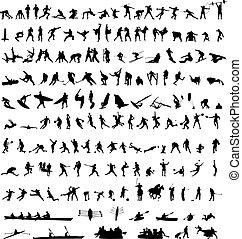 honderden, sportsilhouettes