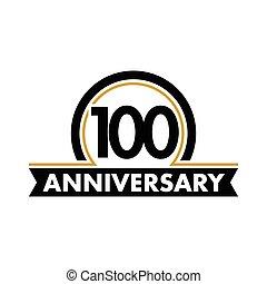 honderdste, ongewoon, vector, abstract, jubileum, jarig, symbool., 100th, boog, jubilee., label., honderd, jaren, logo., circle.