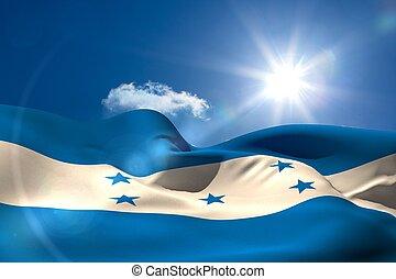Honduran national flag under sunny sky - Digitally generated...