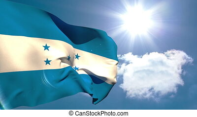 Honduran national flag waving on blue sky background with...