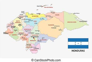 honduras, administrativo, y, político, vector, mapa, con, bandera