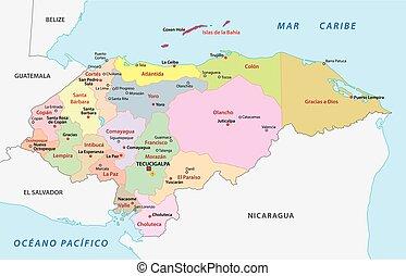 honduras, administrativo, y, político, vector, mapa