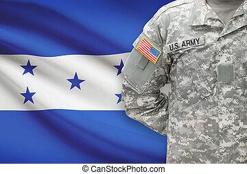 honduras, -, americano, soldato, bandiera, fondo