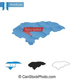 Honduras blue Low Poly map with capital Tegucigalpa. -...