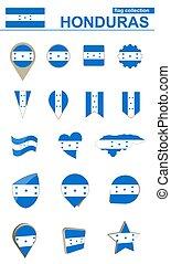 Honduras Flag Collection. Big set for design. Vector...
