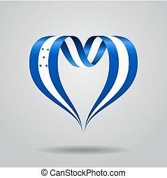 Honduras flag heart-shaped ribbon. Vector illustration. -...