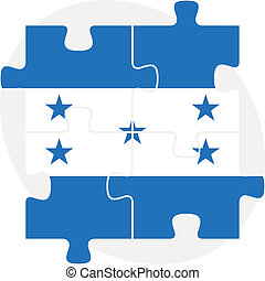 Honduras Flag in puzzle isolated on white background