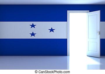 Honduras flag on empty room