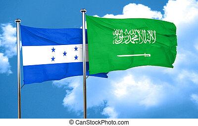 Honduras flag with Saudi Arabia flag, 3D rendering