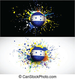 Honduras flag with soccer ball dash on colorful background, vector illustration