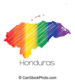 honduras, lgbt, paese, colorato, scribbled, forma