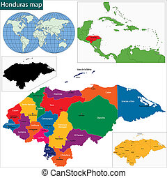 Honduras map - Map of the Republic of Honduras with the...