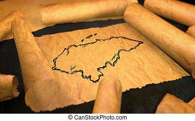 Honduras Map Drawing Unfolding Old Paper Scroll 3D