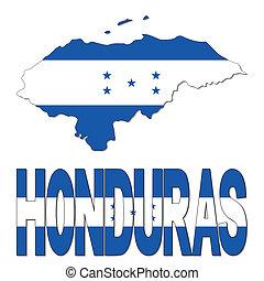 Honduras map flag and text