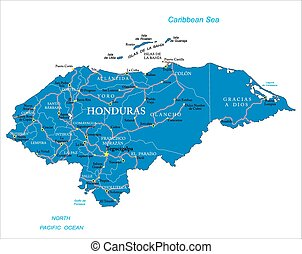 Honduras map - Highly detailed vector map of Honduras with...