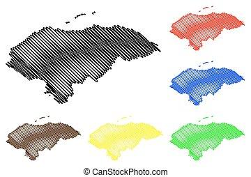 Honduras map vector illustration, scribble sketch Honduras