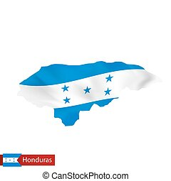 Honduras map with waving flag of country.