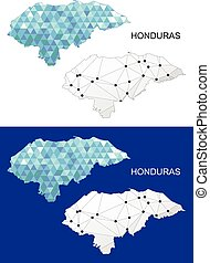 honduras, mapa, en, geométrico, polygonal