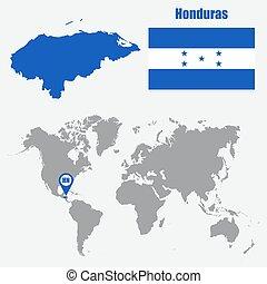 honduras, mapa, en, un, mapa del mundo, con, bandera, y, mapa, pointer., vector, ilustración