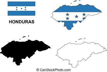 honduras, mapa, vector, bandera honduras