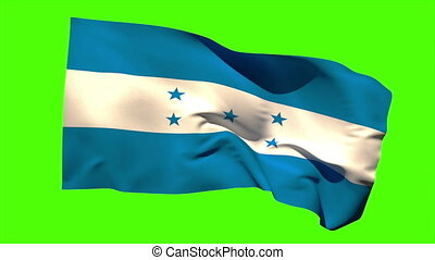 Honduras national flag blowing in the wind