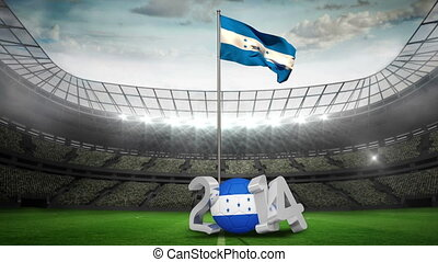 Honduras national flag in football stadium with 2014 message
