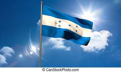 Honduras national flag waving on fl