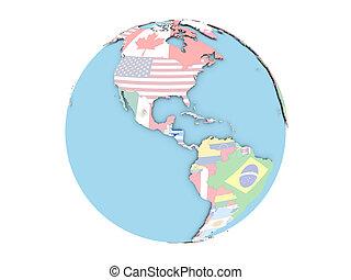 Honduras on globe isolated