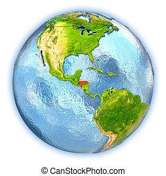Honduras on isolated globe