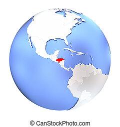 Honduras on metallic globe isolated