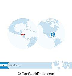 Honduras on world globe with flag and regional map of Honduras.