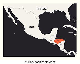 Honduras orange marked in political map of Central America....