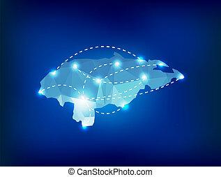 honduras, país, mapa, polygonal, con, luces del punto,...