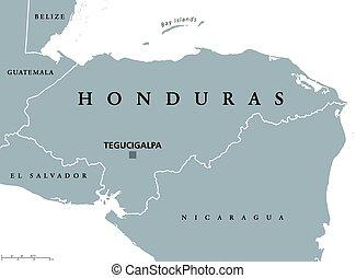 honduras, político, mapa