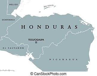 Honduras political map with capital Tegucigalpa, national...
