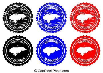 Honduras - rubber stamp - vector, Republic of Honduras map...