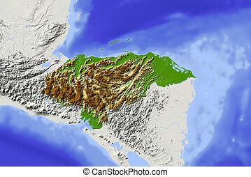 Honduras, shaded relief map - Honduras. Shaded relief map....