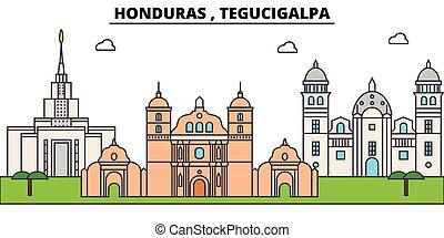 Honduras , Tegucigalpa outline city skyline, linear...