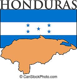Honduras - Illustration of Honduras  flag, map and name.