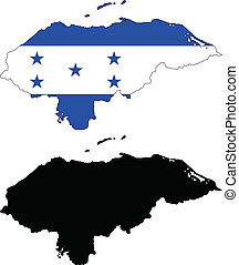 honduras - vector map and flag of Honduras with white...