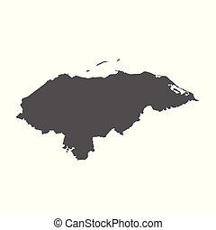 Honduras vector map. Black icon on white background.