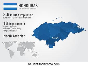 Honduras world map with a pixel diamond textire.