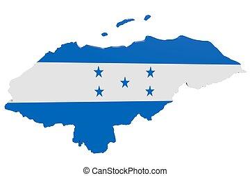 hondureño, bandera, mapa