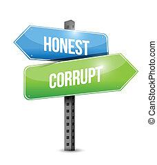 honest, corrupt road sign illustration design over a white ...