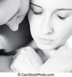 honest hugging by two women - two beauty girlfriends in ...